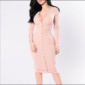Fashion nova vintage jams pink midi dress sz XL